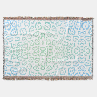 Mint Blue Leopard Pastel Kawaii Animal Print Green Throw Blanket