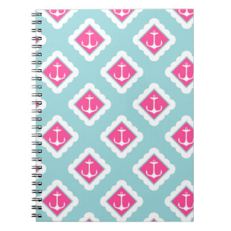 Mint Blue, Pink, White Anchors Nautical Pattern Spiral Notebook