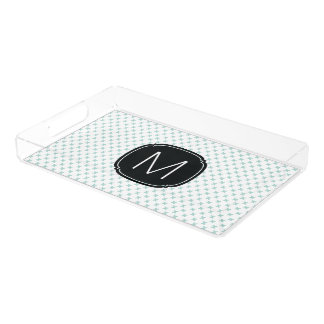 Mint Blue Tiny X Pattern on White with Monogram Acrylic Tray