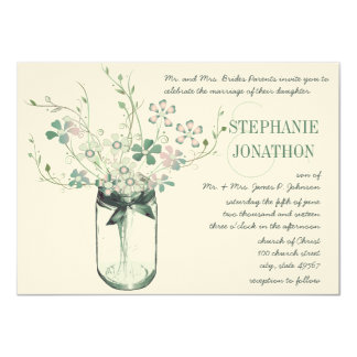 Mint Blush Pink Mason Jar Wild Flower Wedding Card
