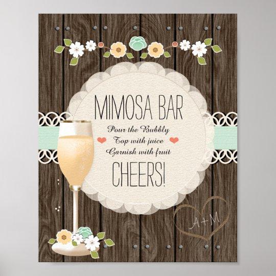 Mint Boho Rustic Wedding Bridal Shower Mimosa Bar
