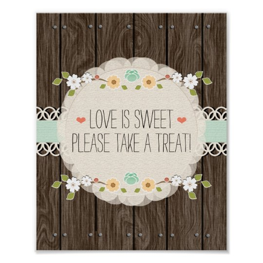 Mint Boho Rustic Wedding Shower Candy Bar Sign