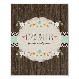 Mint Boho Rustic Wedding Shower Cards Gifts Sign