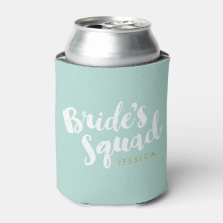 Mint Bride's Squad Personalized Bridal Party Gifts Can Cooler