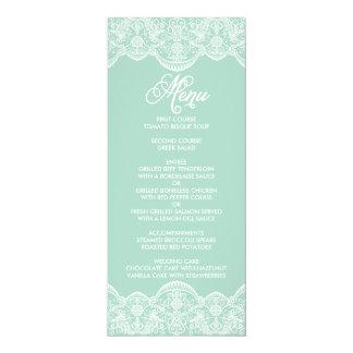 Mint Brocade Lace Wedding Menu Card 10 Cm X 24 Cm Invitation Card