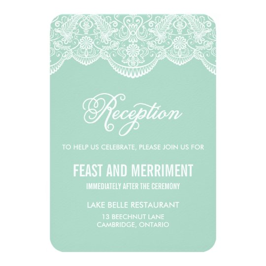 Mint Brocade Lace Wedding Reception Card