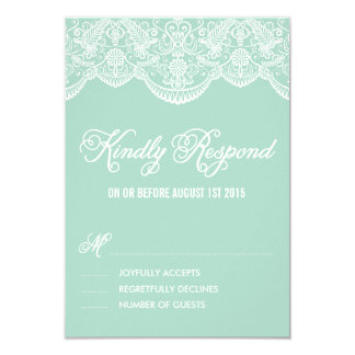 "Mint Brocade Lace Wedding RSVP Card 3.5"" X 5"" Invitation Card"