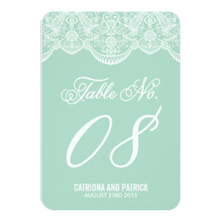 Mint Brocade Lace Wedding Table Number Cards 9 Cm X 13 Cm Invitation Card