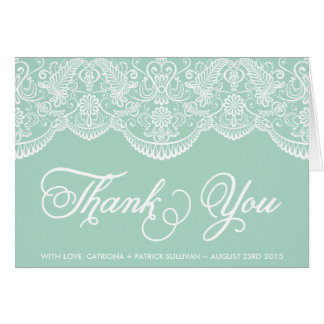 Mint Brocade Lace Wedding Thank You Card