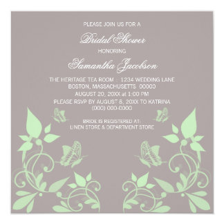 """Mint Butterfly Floral Bridal Shower Invite 5.25"""" Square Invitation Card"""
