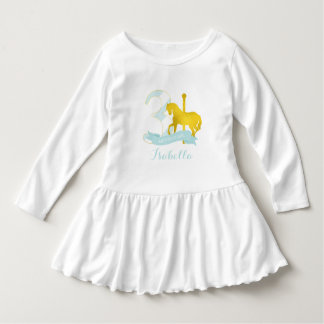 Mint Carousel Horse Birthday Girl Dress