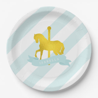 Mint Carousel Horse Birthday Party 9 Inch Paper Plate