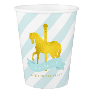 Mint Carousel Horse Birthday Party Paper Cup
