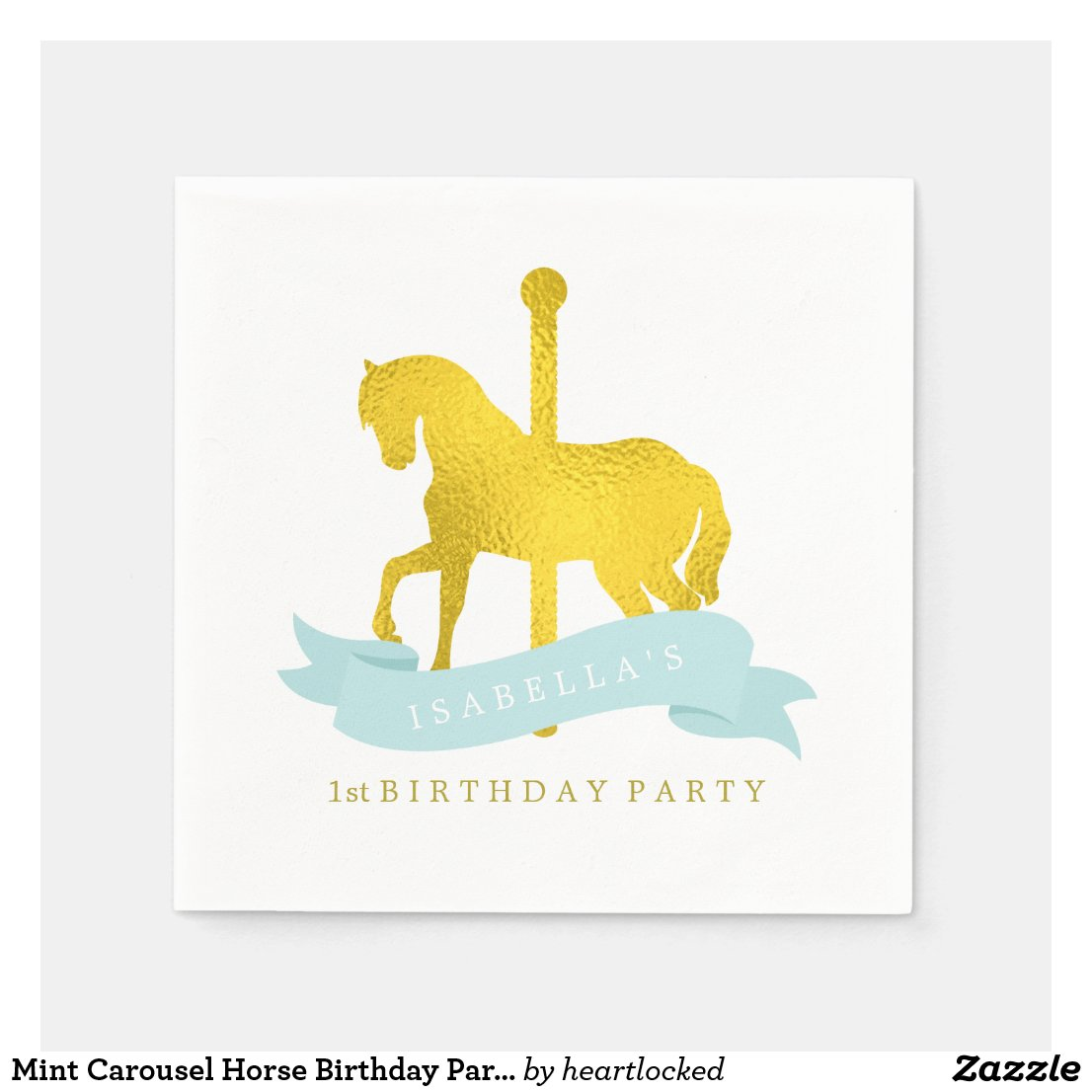 Mint Carousel Horse Birthday Party Paper Napkin