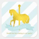 Mint Carousel Horse Birthday Square Sticker