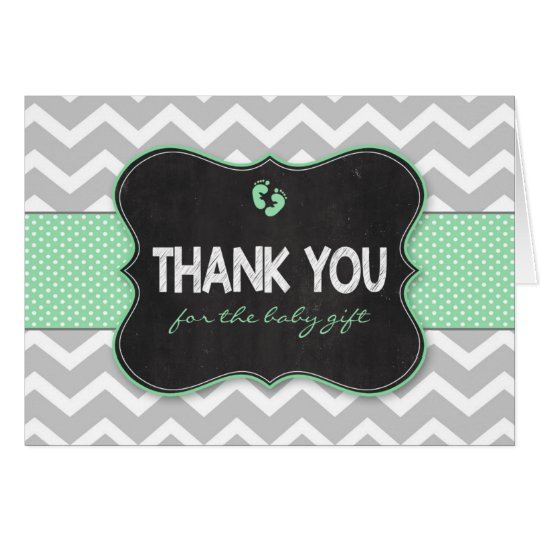 Mint Chalkboard baby shower gift thank you notes