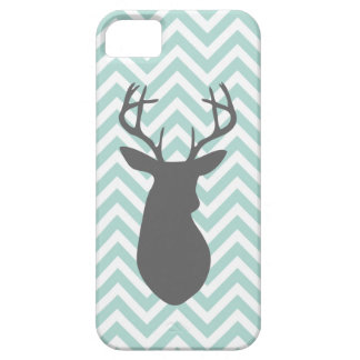 Mint & Charcoal Gray Chevron & Deer Silhouette Case For The iPhone 5