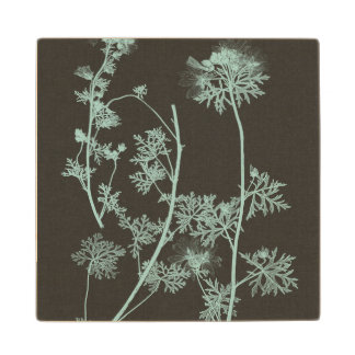 Mint & Charcoal Nature Study IV Wood Coaster