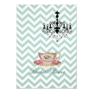 "mint chevron Bridal Shower Tea Party Invitation 5"" X 7"" Invitation Card"