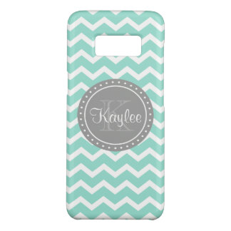 Mint Chevron Grey Monogram Case-Mate Samsung Galaxy S8 Case