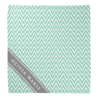 Mint Chevron Grey Name Template Bandana