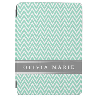 Mint Chevron Grey Name Template iPad Air Cover