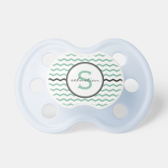 Mint Chevron Monogram Baby Pacifier
