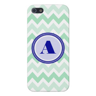 Mint Chevron Monogram Case For iPhone 5/5S