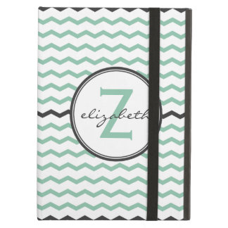Mint Chevron Monogram iPad Air Cover
