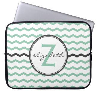 Mint Chevron Monogram Laptop Sleeve