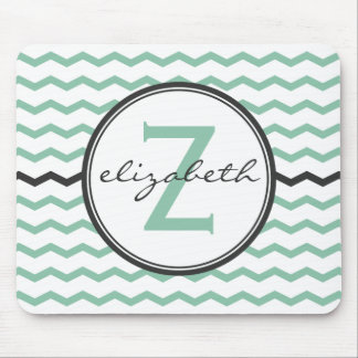 Mint Chevron Monogram Mouse Mat