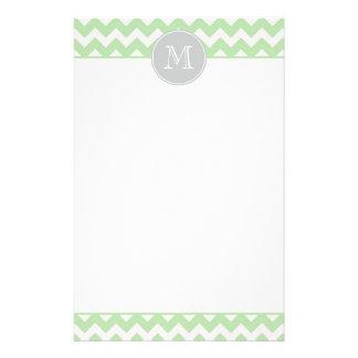 Mint Chevron Monogram Stationery