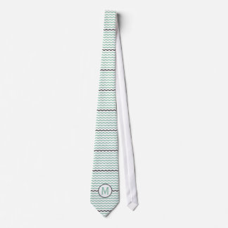 Mint Chevron Monogram Tie