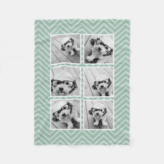 Mint Chevron Pattern with Trendy 6 Photo Collage Fleece Blanket