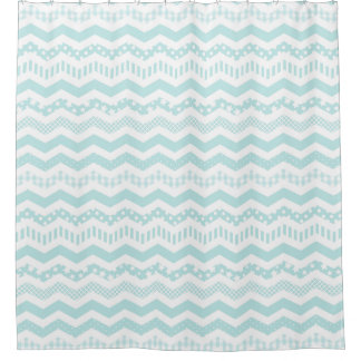 Mint Chevron Shower Curtain with a twist
