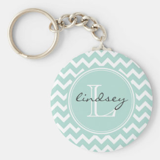 Mint Chevron with Custom Monogram Key Ring