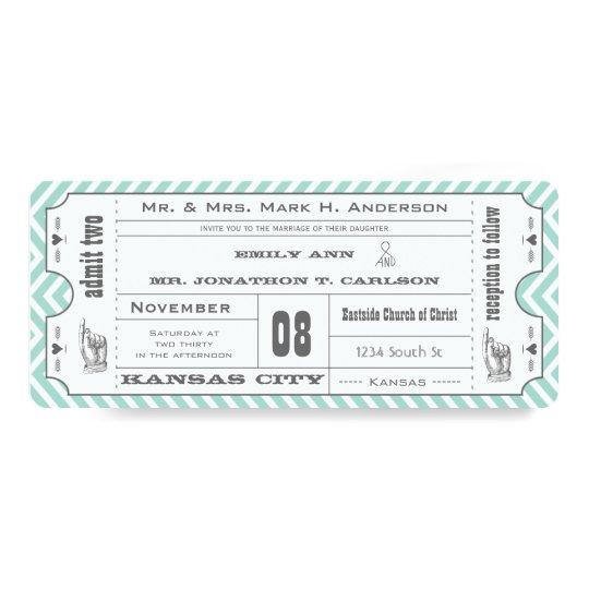 Mint Chevron Zigzag Vintage Modern Ticket Wedding Card
