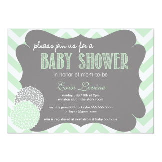 Mint Chic Chevron Baby Shower Invitation