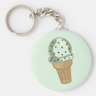 Mint Chocolate Chip Basic Round Button Key Ring
