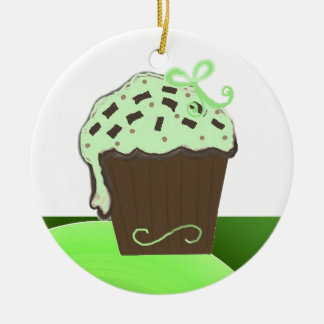 Mint Chocolate Cupcake Round Ceramic Decoration