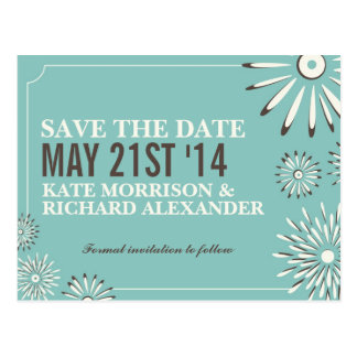 Mint Chocolate Floral Save The Date Postcard