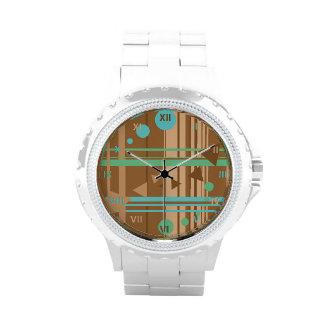 Mint Chocolate Geometry Wrist Watch