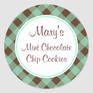 Mint Chocolate Gingham Stickers