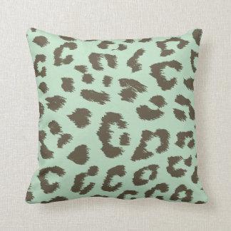 Mint Chocolate Leopard Print Pillow