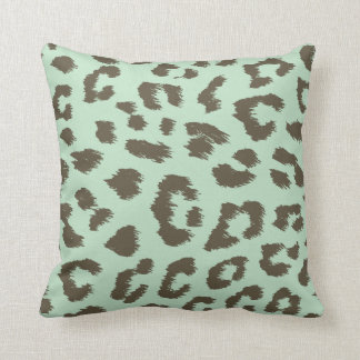 Mint Chocolate Leopard Print Pillow Throw Cushions