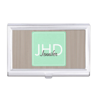 Mint Chocolate Monogrammed Business Card Holder