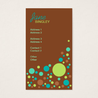 Mint Chocolate Retro Dots Business Card