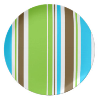 Mint & Chocolate strips Party Plates