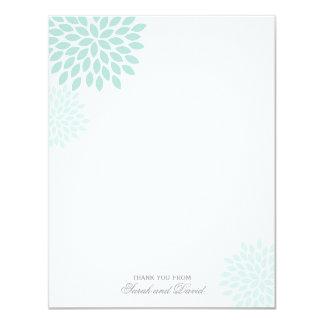 Mint Chrysanthemums Flat Thank You Notes Card