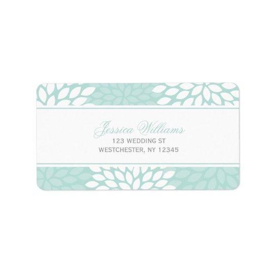 Mint Chrysanthemums Wedding Address Label